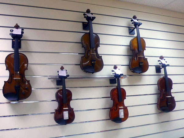A range of violins at the new Music City shop located at Dungannon Enterprise Centre.