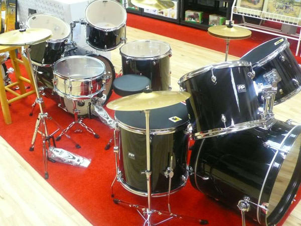 A range of drums and other musical instruments available at the new Music City shop located at Dungannon Enterprise Centre.